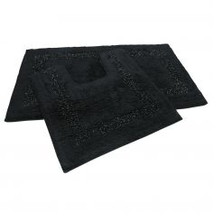 Sparkly 100% Cotton Bath Mat Set - Black