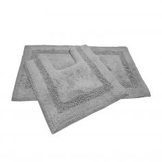 Sparkly 100% Cotton Bath Mat Set - Silver Grey