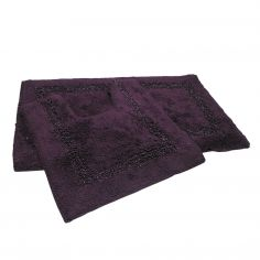 Sparkly 100% Cotton Bath Mat Set - Purple