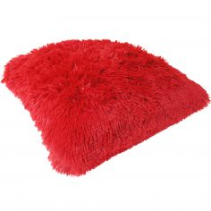 Fluffy Faux Fur Cushion Cover - Red