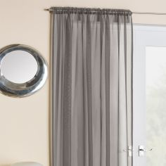 Grey Slot Top Voile Curtain Panel