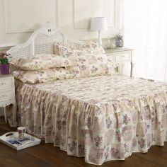 Quilted Lilac Patchwork Floral Fitted Bedspread