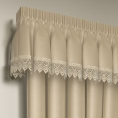 Luxury Ready Made Lined Lace Pelmet Valance - Cream