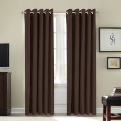 Ring Top Eyelet Thermal Blackout Curtains - Chocolate