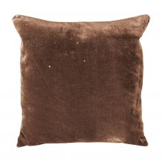 Electra Sparkle Glitter Diamante Cushion Cover - Chocolate Brown