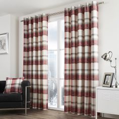 Birkdale Check Lined Eyelet Curtains - Red Cream
