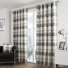Birkdale Check Lined Eyelet Curtains - Charcoal Silver Grey