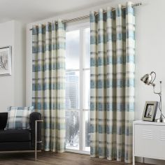 Birkdale Check Lined Eyelet Curtains - Teal Duck Egg Blue