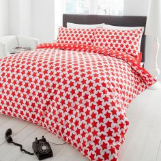 Red & White Stars Thermal Flannelette Duvet Cover Set