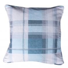 Birkdale Tartan Check  Cushion Cover - Teal Duck Egg Blue Cream