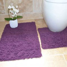 100% Cotton Twist Luxury Bath Mat Set - Purple