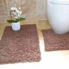 100% Cotton Twist Luxury Bath Mat Set - Chocolate Brown