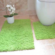 100% Cotton Twist Luxury Bath Mat Set - Lime Green