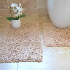 100% Cotton Twist Luxury Bath Mat Set - Beige