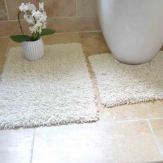 100% Cotton Twist Luxury Bath Mat Set - Cream