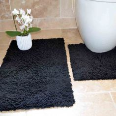 100% Cotton Twist Luxury Bath Mat Set - Black