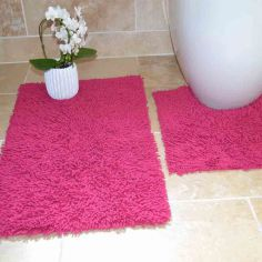 100% Cotton Twist Luxury Bath Mat Set - Fuchsia Pink