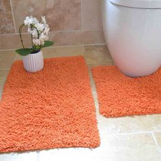 100% Cotton Twist Luxury Bath Mat Set - Orange