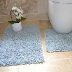 100% Cotton Twist Luxury Bath Mat Set - Blue