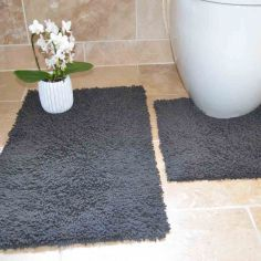 100% Cotton Twist Luxury Bath Mat Set - Silver Grey