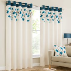 Lily Floral Ring Top Eyelet Fully Lined Curtains - Teal