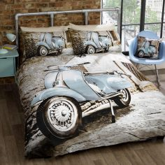 Blue Scooter Duvet Cover Set