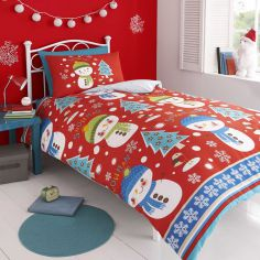 Snowman Red Flannelette Christmas Duvet Cover Set