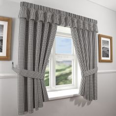 Gingham Check Kitchen Curtains Black