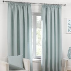 Plain Belmont Duck Egg Blue Tape Top Fully Lined Curtains