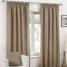 Plain Belmont Taupe Mocha Tape Top Fully Lined Curtains