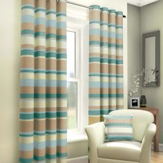 Duck Egg, Cream & Beige Striped Lined Eyelet Curtains