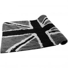 Union Jack Sparkly 100% Cotton Rug/Bath Mat Black Grey