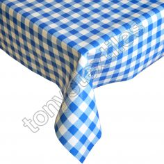 Gingham Check Blue Plastic Tablecloth Wipe Clean Pvc Vinyl