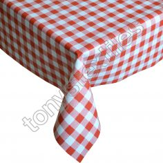 Gingham Check Red Plastic Tablecloth Wipe Clean Pvc Vinyl