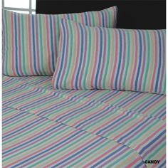 Pair of Flannelette 100% Cotton Pillowcases Candy Stripe