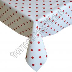Polkadot White and Red Plastic Tablecloth Wipe Clean Pvc Vinyl