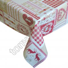 Hearts Stag Red Plastic Tablecloth Wipe Clean Pvc Vinyl