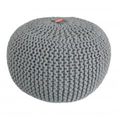 Large Knitted Pouffe Footstool Foot Cushion Rest - Grey