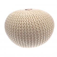 Large Chunky Wool Pouffe Footstool Foot Cushion Rest - Cream
