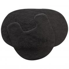 100% Cotton Oval  2 Piece Bath Mat Set- Black