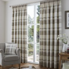 Birkdale Check Lined Tape Top Curtains - Natural & Cream