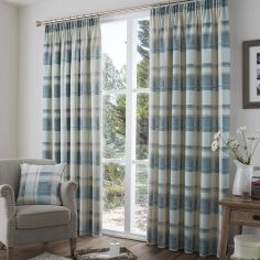 Birkdale Check Lined Tape Top Curtains - Teal Blue & Cream
