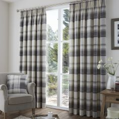 Birkdale Check Lined Tape Top Curtains - Charcoal Grey & Cream