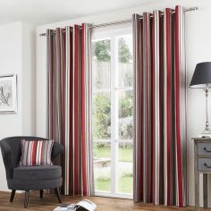 Sandringham Striped Fully Lined Eyelet Curtains - Red