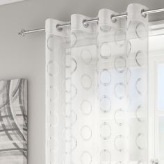 Silver Circles Spiro Ring Top Voile Curtain Panel - White