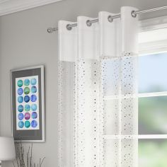 Sparkle Glitz Ring Top Voile Curtain Panel - White
