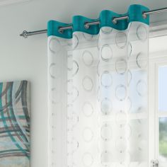 Silver Circles Spiro Ring Top Voile Curtain Panel - Teal