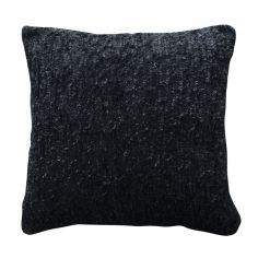 Chenille Textured Sparkle Glitter Cushion Cover - Black