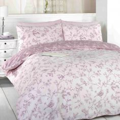 Toile Pink Birds Duvet Cover Set