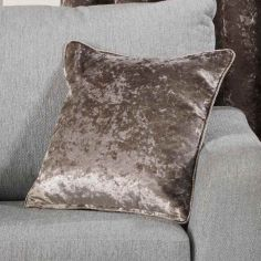 Plush Crushed Velvet Self Piped Cushion Cover - Champagne